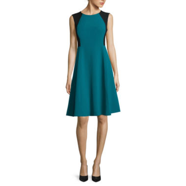 jcpenney.com | Black Label by Evan-Picone Sleeveless Colorblock Fit-and-Flare Dress