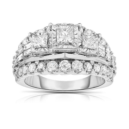 LIMITED QUANTITIES! Womens 2 CT. T.W. Princess White Diamond 14K Gold Engagement Ring