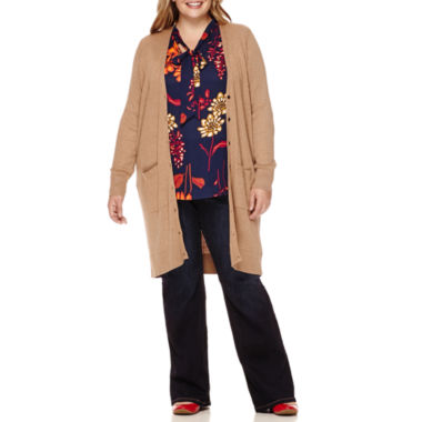 jcpenney.com | Stylus™ Long-Sleeved Ribbed Button-Front Cardigan, Long-Sleeve Bow Blouse or High-Rise Flare Jeans - Plus
