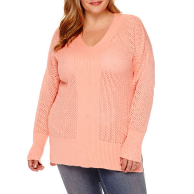 jcpenney.com | Stylus™ Long-Sleeve Pointelle Tunic Sweater - Plus