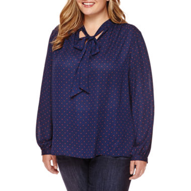 jcpenney.com | Stylus™ Long-Sleeve Bow Blouse - Plus