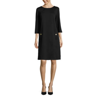 jcpenney.com | Liz Claiborne® 3/4-Sleeve Shift Dress with Gold Buttons