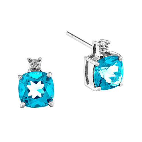 Diamond Accent Round Blue Topaz 14K Gold Stud Earrings