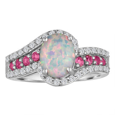 jcpenney.com | Lab Created Opal, Pink & White Sapphire Sterling Silver Ring