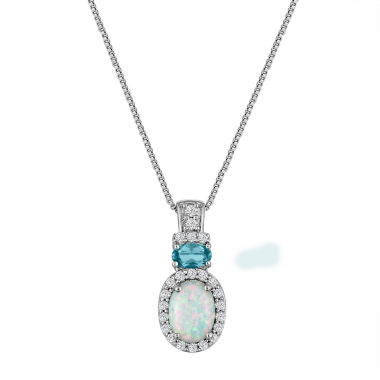 jcpenney.com | Lab Created Opal, Blue Topaz, And White Sapphire Sterling Silver Pendant Necklace