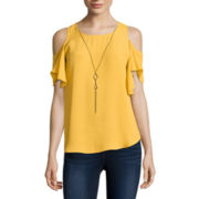 by&by Cold-Shoulder Top with Necklace