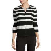 Liz Claiborne® 3/4-Sleeve Zip-Front Cardigan