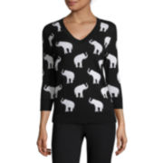 Liz Claiborne® 3/4-Sleeve Elephant Sweater