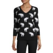 Liz Claiborne® 3/4-Sleeve Elephant Sweater - Tall