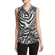 Liz Claiborne® Sleeveless Bow-Front Top