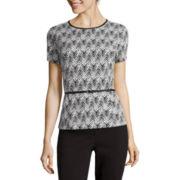 Liz Claiborne® Short-Sleeve Belted Knit Peplum Top - Tall