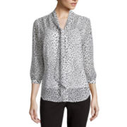 Liz Claiborne® 3/4-Sleeve Dot Blouse