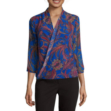 jcpenney.com | Liz Claiborne® 3/4-Sleeve Wrap Top - Tall