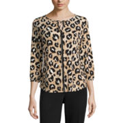 Liz Claiborne® Long-Sleeve High-Low Tie-Front Blouse