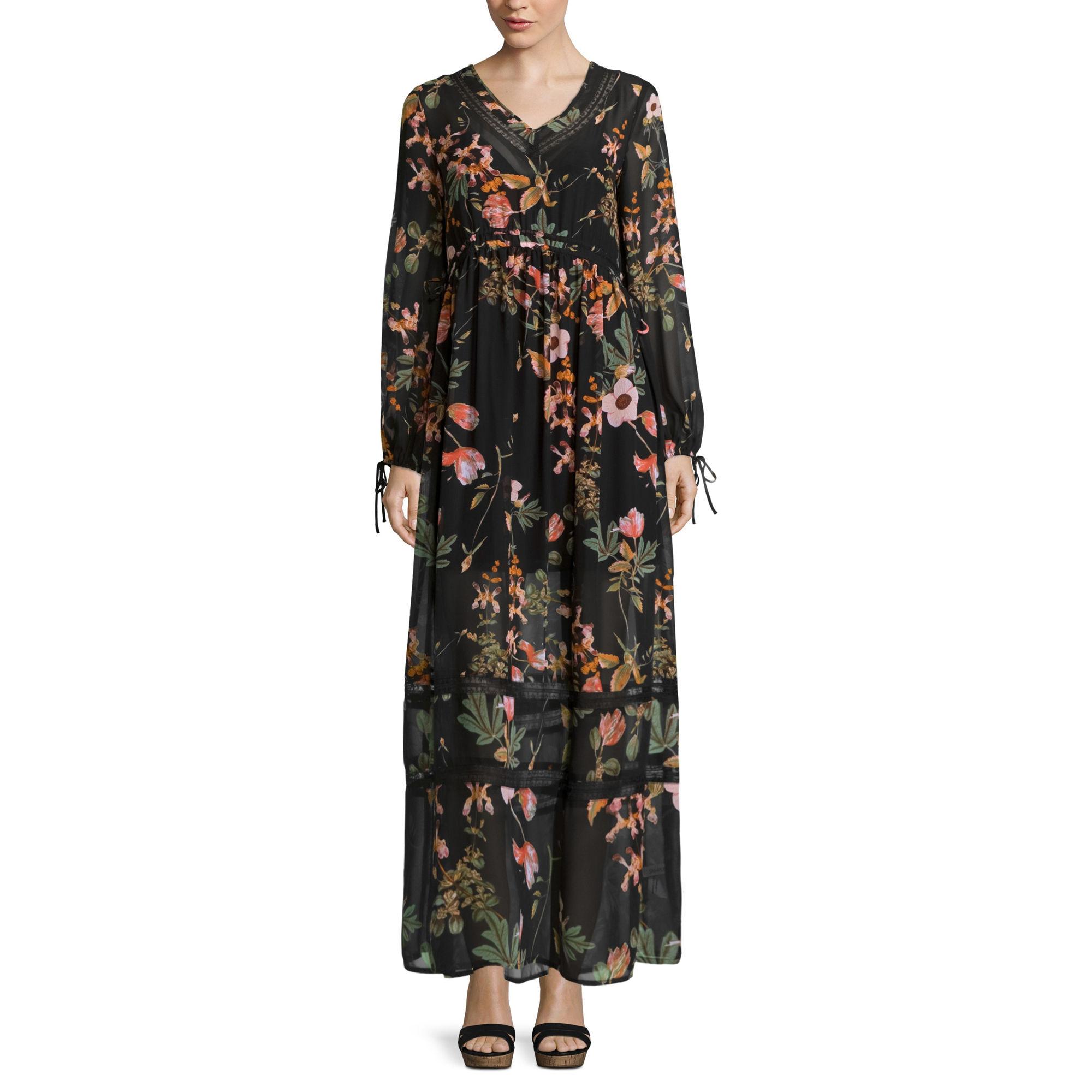 BELLE + SKY Long-Sleeve Floral Maxi Dress