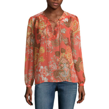 jcpenney.com | a.n.a® Long-Sleeve Lace-Front Peasant Blouse