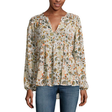 jcpenney.com | a.n.a® V-Neck Peasant Blouse