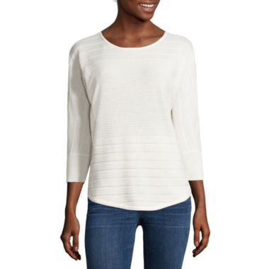 jcpenney.com | a.n.a® 3/4-Sleeve Rounded-Hem Dolman Sweater