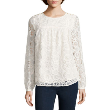 jcpenney.com | Stylus™ Long-Sleeve Lace Blouse - Tall