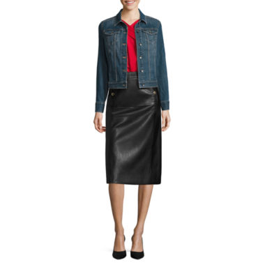 jcpenney.com | Liz Claiborne® Denim Jacket, Criss-Cross Top or Faux-Leather A-Line Skirt