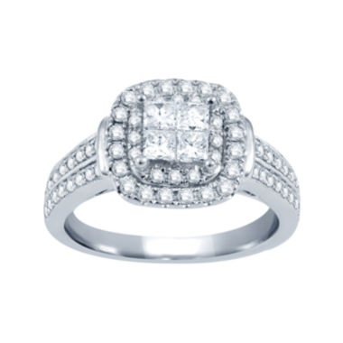 jcpenney.com | 1 CT. T.W. Princess & Round Diamond 14K White Gold Engagement Ring