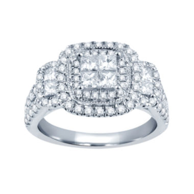jcpenney.com | 1½ CT. T.W. Princess & Round Diamond 14K White Gold Engagement Ring