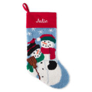 North Pole Trading Co. Monogrammed Snowman Family Stocking