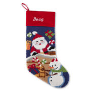 North Pole Trading Co. Monogrammed Santa and Snowman Stocking