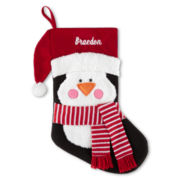 North Pole Trading Co. Monogrammed Santa Penguin Stocking