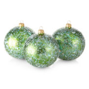 MarthaHoliday™ Christmas Traditions Set of 3 Green Icy Ball Ornaments