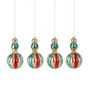 MarthaHoliday™ Christmas Traditions Set of 4 Bear on Ball Glass Ornaments