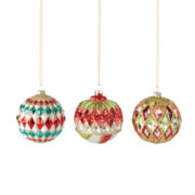MarthaHoliday™ Christmas Traditions Set of 3 Glass Ball Ornaments