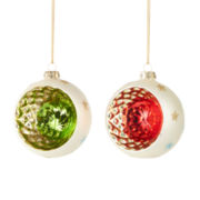 MarthaHoliday™ Christmas Traditions Set of 2 Glass Reflector Ornaments
