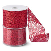 North Pole Trading Co. Holiday Glitz Set of 2 Mesh Ribbon