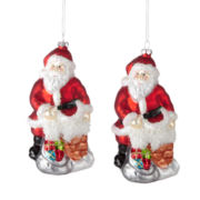 MarthaHoliday™ Christmas Traditions Set of 2 Glitter Santa Ornaments