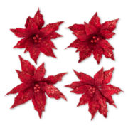 MarthaHoliday™ Christmas Traditions Set of 4 Poinsettia Clip-On Ornaments