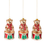 MarthaHoliday™ Christmas Traditions Set of 3 Bear on Drum Ornaments