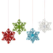 North Pole Trading Co. Holiday Glitz  Set of 4 Paper Snowflake Ornaments