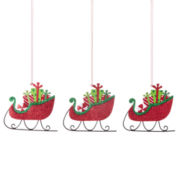 North Pole Trading Co. Holiday Glitz  Set of 3 Sled with Presents Ornaments