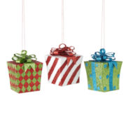 North Pole Trading Co. Set of 3 Giftbox Ornaments
