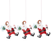 North Pole Trading Co. Holiday Glitz  Set of 3 Santa Ornaments