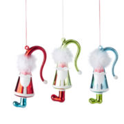 North Pole Trading Co. Holiday Glitz  Set of 3 Glass Santa Ornaments