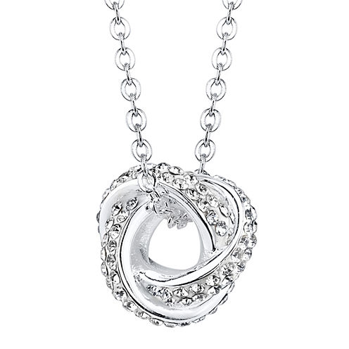 Crystal Sophistication™ Silver-Plated Crystal-Accent Knot Pendant Necklace
