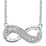 Silver-Plated Crystal Infinity Pendant Necklace