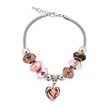 jcpenney.com | Dazzling Designs™ Silver-Plated Pink & Purple Artisan Glass Bead Bracelet