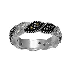 Marcasite and Crystal Band Ring