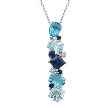jcpenney.com | Sterling Silver Shades of Blue Cluster Pendant Necklace