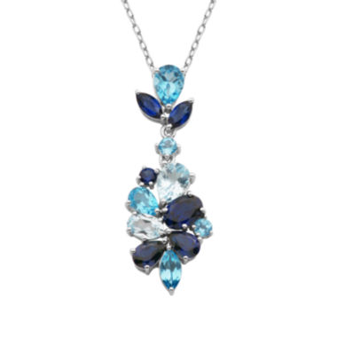 jcpenney.com | Sterling Silver Shades of Blue Flower Pendant Necklace