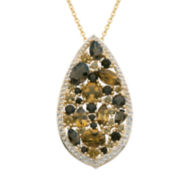 Color-Enhanced Smoky and Yellow Quartz Teardrop Pendant Necklace