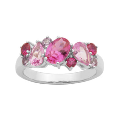 jcpenney.com | Simulated Amethyst, Pink Sapphire and Ruby Sterling Silver Cluster Ring